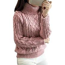 5b3b3273b Qitun Mujeres Retorcido De Cuello Alto Sueter Flojo De Punto Pullover Los  Estudiantes suéter Pink