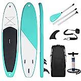 Triclicks Aufblasbares SUP Stand Up Paddle Board Set Surfboard mit Verstellbares Paddel, Handpumpe mit Druckmesser, Leash, Finner, Rucksack - 300 x 83 x 15cm