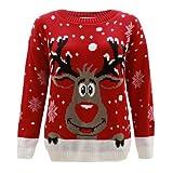 Generation FashionJersey para mujer, de punto, diseño con reno Rudolph, Navidad, tallas 44 - 58 rojo rosso Small