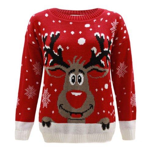 Generation FashionJersey para mujer, de punto, diseño con reno Rudolph, Navidad, tallas 44 - 58 rojo rosso X-Large
