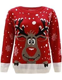 Generation Fashion Jersey para Mujer, de Punto, diseño con Reno Rudolph, Navidad, Tallas 36-58