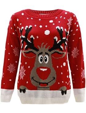 Generación Fashion–mujer de punto reno Rudolph Navidad Xmas Jumper Jersey Top Plus Size 1616202224262830
