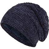 Compagno warm gefütterte Beanie Wintermütze angesagtes Strickmuster Fleece-Futter Mütze Einheitsgröße, Farbe:Samt Marineblau