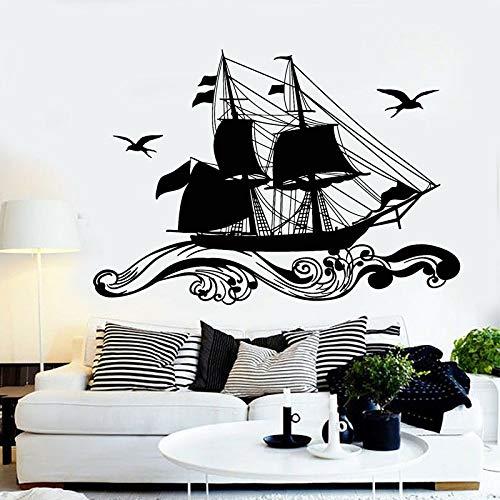 57x82cm Retro Ship Sailor Sea Sails Cruise Seagull Birds Waves Wall Stickers Nautical Home Decor Wohnzimmer Decalsvau