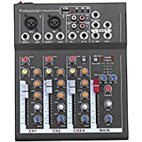 Liamostee Mini Audio Mixer with USB DJ Sound Mixing Console 4 Channel 48V Amplifier For Karaoke KTV Party