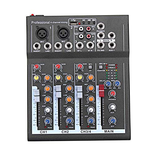 Liamostee Mini Audio Mixer with USB DJ Sound Mixing Console 4 Channel 48V Amplifier for Karaoke KTV Party (Dj-digital-recorder)