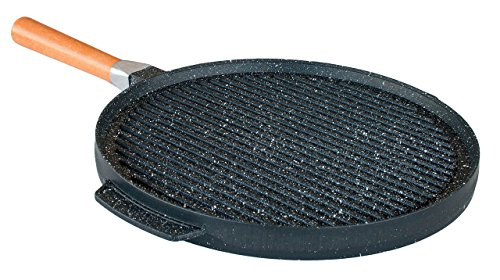 Pedras - padella doppia piastra pietra lavica ceramicata per grill e crepes + 3 accessori omaggio - made in italy (28 centimetri)