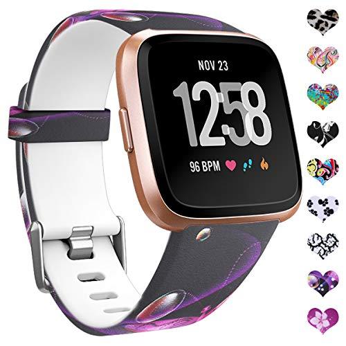 HUMENN Cinturini per Fitbit Versa Smartwatch/Fitbit Versa 2, Fiore Band Replacement Silicone...