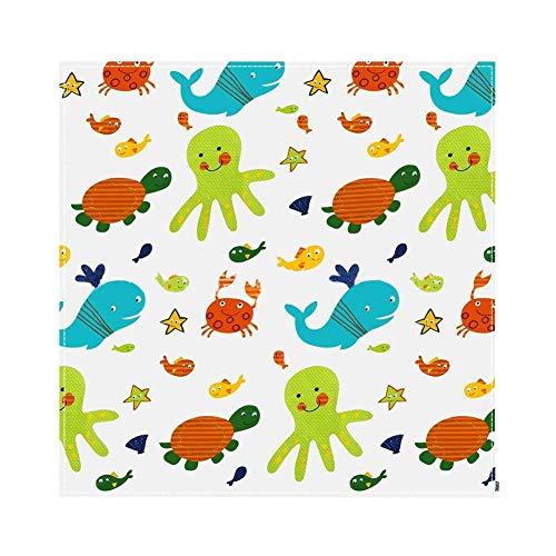 Spielmatte Baby Teppich Spielteppich Faltbarer Multifunktionale Krabbelmatte Ungiftig Rutschfest Wasserdicht Für Innen- Oder Außenbereich Für Kleinkind Unterwasserwelt Muster (110x110cm) -