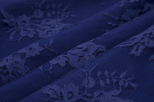 Gigileer Sexy Vintage Damen Floral Spitze 3/4 Arm Swing Kleid Knielang festlich Party Blau S - 4