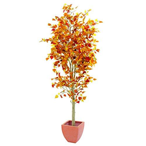 Set 2 x Künstlicher Birkenbaum mit 1310 Blättern, herbstlich, 180 cm - Künstlicher Baum / Kunstpflanze Birke - artplants