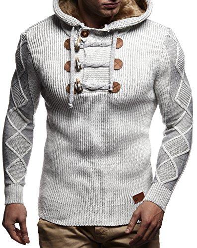 LEIF NELSON Herren Pullover Strickjacke Hoodie Sweatshirt Longsleeve Winterjacke Pulli Sweater Langarm LN4205N; Gr_¤e M, Grau