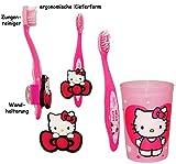 Set _ ergonomische Zahnbürste - ' Hello Kitty ' - mit Zahnputzbecher & Zahnbürstenhalter / Halter Saugnapf - Kinder & Baby / hochwertige Borsten - Kinderzahnbürste & Babyzahnbürste - für Kinder / Mädchen - Wand Halterung - Putztrainer - Zähne putzen - Kleinkinder / Katze / Kätzchen - Zahnbürsten / Zähneputzen lernen - Wandhalterung