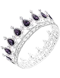 Santfe Tiara de novia plata corona Diadema Con Rhinestones Para Fiesta Boda Novia Boda Corona de cristal Prom Party