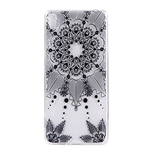 For Sony Xperia XA Case Cover, Ecoway TPU Clear Soft Silicone Back Colorful Hollow Floral Printed Pattern Silicone Case Protective Cover Cell Phone Case for Sony Xperia XA - Black totem