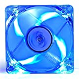 PC-Gehäuse-/ Prozessor-Kühler, 120mm, 4 blaue LEDs, transparente, klare Blätter, mit 3-poligem Motherboard, 4-poliger Molex-Stecker, inklusive 4Schrauben