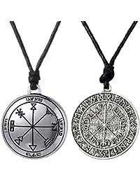 Gazechimp 2pcs Exotique Pendant Collier Viking Odin's Clé de Salomon Talisman Protection Bijoux