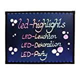 LED-Highlights Deko Leuchtschild Reklame Tafel 80 x 60 cm Controller 7 Led Farben Leuchttafel Werbeschild 8 Neon Stifte Buchstaben bunt beschreibbar