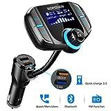 Trasmettitore FM Bluetooth, Trasmettitore Bluetooth per Auto Aadio Ricevitore Adattatori Vivavoce Car Kit, Wireless Bluetooth Auto con Display LCD, Caricabatterie Auto 2 Porte USB con Carica rapida USB 3.0