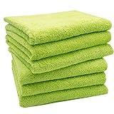 Zollner 6er-Set Handtücher in flauschiger Frotteequalität apfelgrün 50x100 cm aus 100% Baumwolle, Gewicht ca. 520 g/qm, in weiteren Farben erhältlich, in Premium-Qualität, Serie Star-Elba