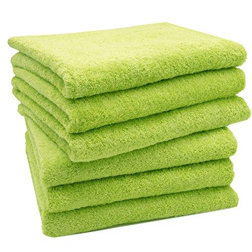Zollner® set di 6 pezzi d'asciugamani 50x100 cm verde mela, disponibili in tanti altri colori, direttamente dallo specialista in gastronomia, serie star-elba