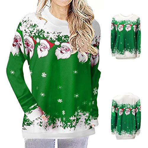 Sweatshirts Weihnachten Frauen drucken Tops Hooded Pullover Bluse T-Shirt Herren Weihnachtspullover Kapuzenpullover Hoodie Pärchen Funny 3D Weihnachtsmann Kleidung Teenager Langarmshirt(Grün.L3) -