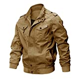 KEFITEVD Men's Outwear Winter Cargo Military Jackets Multi Pocket Windproof Windbreaker Coat Khaki