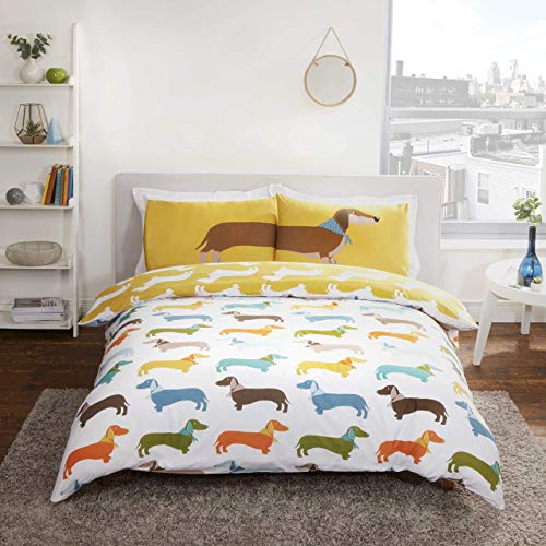 Rapport Reversible Dachshund Sausage Dog Duvet Cover, for sale  Delivered anywhere in UK