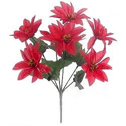 12x Navidad seda Artificial flor de Pascua Navidad grupo Bush–rojo (7cabezas por grupo)