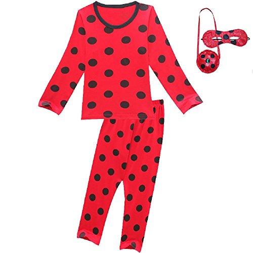 Diudiul Miraculous Ladybug Mädchen Trainingsanzüge Blinds Taschen Rote T-Shirts Hosen Sets (Lang-Rot, 130CM)