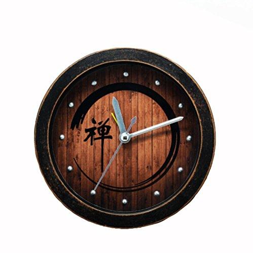 Ffeei Retro Nostalgia Chino Clásico Palabra Zen Reloj Despertador Perezoso Escritorio Mute Decoración...