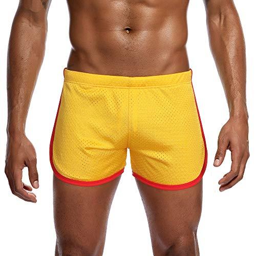 FRAUIT Herren Mesh Sport Fitted Shorts Bodybuilding Workout Gym Running Tight Lifting Shorts Flat-Angle Leichtathletik Kurz Hose Shorts -