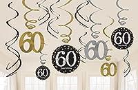 Amscan 670480 Gold Celebration 60th Swirl Decoration Value Pack