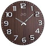 JVD HT075 Wanduhr Quarz analog Holz nussbaum farben rund