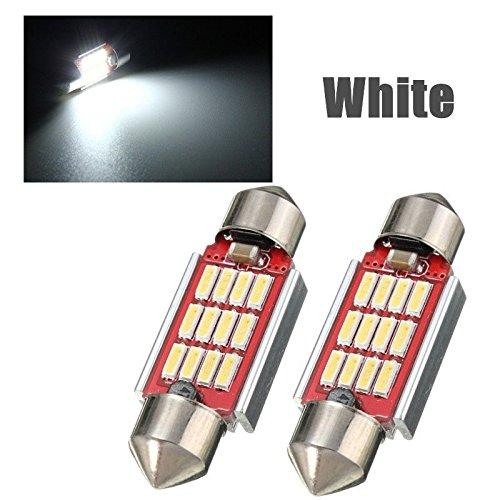 takestop® Paar Leuchtmittel Licht 12V 6W 36mm 12LED Canbus C5W Light Blumenzwiebel Zwiebel weiß kalt Kennzeichenbeleuchtung Innenraumbeleuchtung Auto Tuning