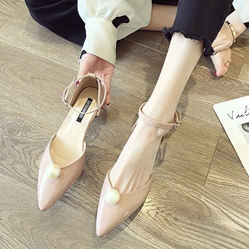 Uhrtimee Hochhackige Schuhe weiblich 2019 Neue koreanische Version der Wildnis wies Spitze Stiletto-Wort-Schnalle mit Fairy Sandals Perlen schwarz einzelne Schuhe, 35, ()
