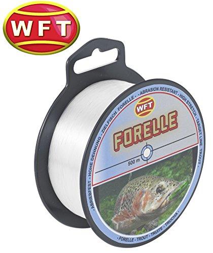 forellenschnur WFT Zielfisch Forelle 500m clear - Angelschnur zum Forellenangeln, Monofilschnur für Forellen, Forellenschnur zum Angeln, Schnur, Durchmesser/Tragkraft:0.22mm/4.2kg Tragkraft