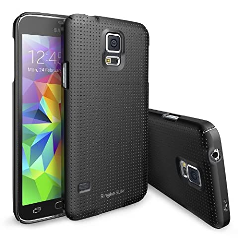 [Gratis HD Film-Better Grip] Ringke SLIM® Galaxy S5 Coque [DOT-BLACK] Modern Glam Dotted Pattern Design with Full Top and Bottom Coverage for an All Around Protection Premium Hard Case Cover Coque Étui Housse de Protection Protecteur Étui pour Samsung Galaxy S5 / Galaxy SV / Galaxy S V (2014) [ECO Paquet]