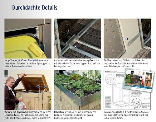 BINTO Nadelholz Mülltonnenbox, Müllbox System 2 - 2