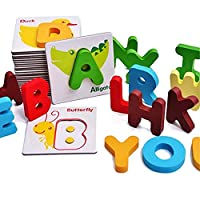 OYD Wooden flash cards, Alphabet ABC Puzzles with Wooden Letter, Alphabet Animal Match Puzzle Flash Cards