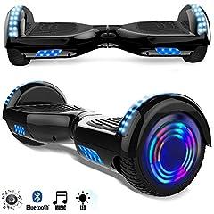 Idea Regalo - Magic Vida Skateboard Elettrico 6.5 Pollici Bluetooth Power 700W con Due Barre LED Monopattini elettrici autobilanciati di buona qualità per Bambini e Adulti(Nero)