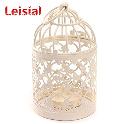 Zedtom 8x14cm Birdcage-shape Metal Tealight Candle Holder Lanterns Wedding Home Table Decoration(White) from Zedtom