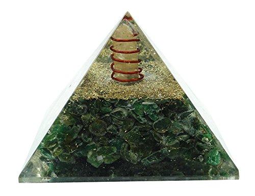 Generatore di cristallo energia orgonica Piramide HARMONIZE ® Cuore Chakra simbolo Orgonite Aventurine verde Reiki