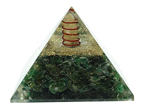 Generatore di cristallo energia orgonica Piramide HARMONIZE ® Cuore Chakra simbolo Orgonite Aventurine verde Reiki Healing