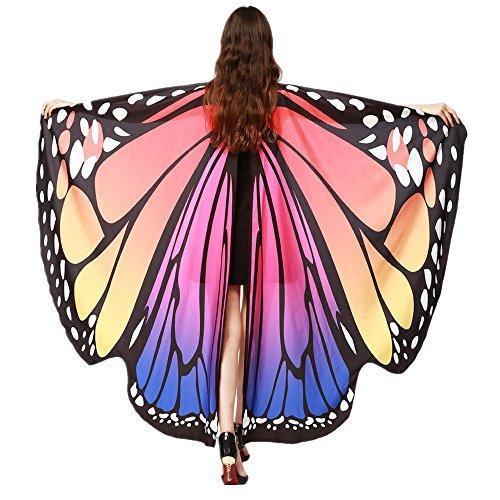 Kleider , Frashing Frauen Schmetterlingsflügel Schal Schals Nymph Pixie Poncho Kostüm Zubehör (Heiß Rosa) (Heiße T-shirt Frauen)