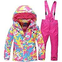 Ocamo Traje de esquí Pantalones Impermeables + Chaqueta Deportes de Invierno Engrosamiento de la Ropa, niño/niña Rojo Rosa, 10 A (140 Cm De Altura)
