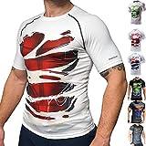 Khroom T-shirt de Compression de Super-héros pour Homme | Vêtement Sportif à Séchage Rapide pour Fitness, Gym, Course, Musculation | Matériel Extensible et Ventilé Anti Transpiration (Deadpool blanc M