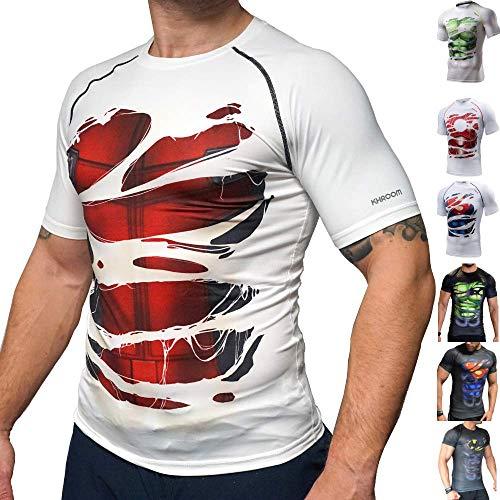 Hochwertiges T-shirt (Khroom Hochwertiges Herren Funktionsshirt | Perfekt für Fitness & Gym - Kompressionsshirt im stylischen Helden Design (Deadpool weiß, M))