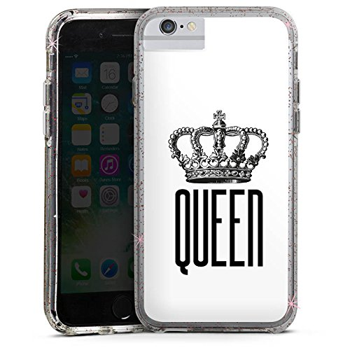 Apple iPhone 7 Plus Bumper Hülle Bumper Case Glitzer Hülle Queen Koenigin Krone Bumper Case Glitzer rose gold