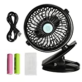 VIPITH Battery Operated Clip on Stroller Fan, 360 Degree Rotation Mini Portable Desk